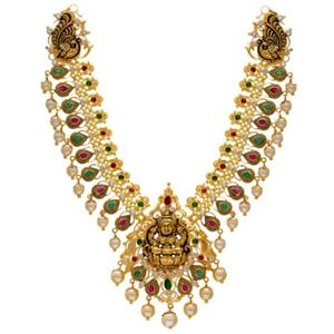 Other - 22 k gold pearl ruby and emerald necklace